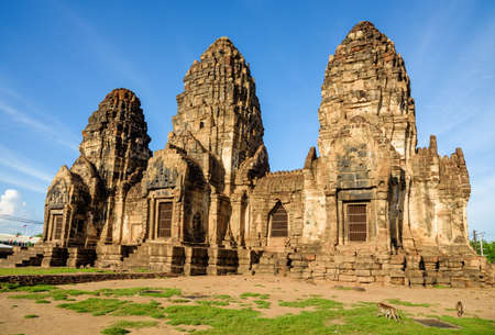 The 13th century Khmer-style temple in Thailand with blue sky