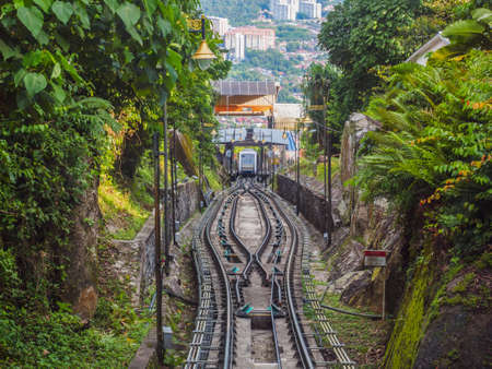 Penang, Malaysia - April 25, 2017: The tracks of Penang hill train which is the park and resort for tourists and it is one of tourist destination in Penang island, Malaysia.