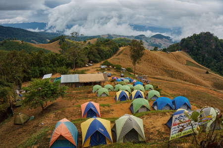 Nan, Thailand- December 16, 2016: People camping on the mountain called Doi Samer Dao National Park in Nan Province, north of Thailand, during the cool season