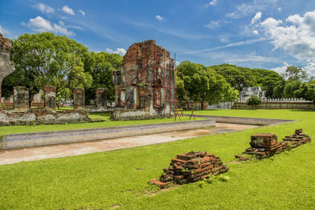 The ruins of the reception hall for foreign ambassadors and dignitaries at King Narais palace, Lopburi Province, Thailand.