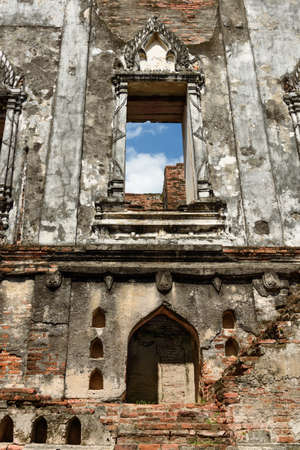 The ruin of the throne hall building of King Narais palace at Lopburi Province, Thailand, which was built in 1666 .