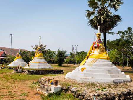The Three Pagodas or Dan Chedi Sam Ong, Sangkhlaburi District,  Kanchanaburi Province, Thailand, which is the historical sit at the border between Thailand and Myanmar