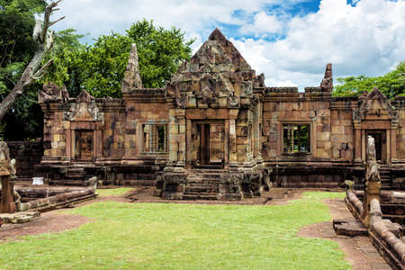 Prasat Muang Tam or the lower city castle, an ancient Khmer-style temple complex built in Buriram Province, Thailand, which is built in the 10th -11th century. 写真素材