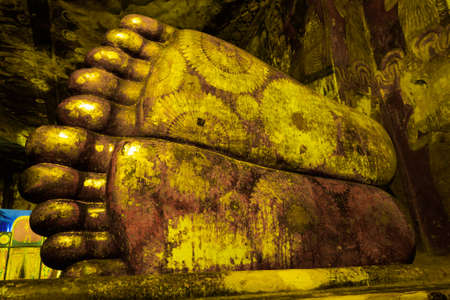 Details of the sole of reclining Buddha statute at Dambulla Cave Temple, the cave temple  of Sri Lanka which is the UNESCO World Heritage Site at Dambulla city, Sri Lanka