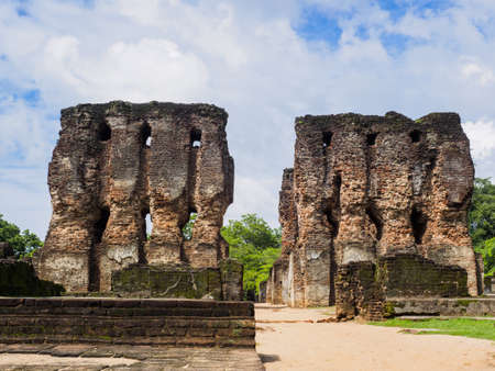 The ancient ruins of the 7- story royal palace in Polonnaruwa, Sri Lanka, which was built during the 12th century and is the UNESCO world heritage site.