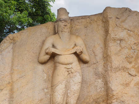 The ancient statue which is believed  to be that of King Parakramabahu the Great (1153-1186 A.D.) at Potgul Vihara in the ancient city of ancient city of Polonnaruwa,  Sri Lanka 写真素材