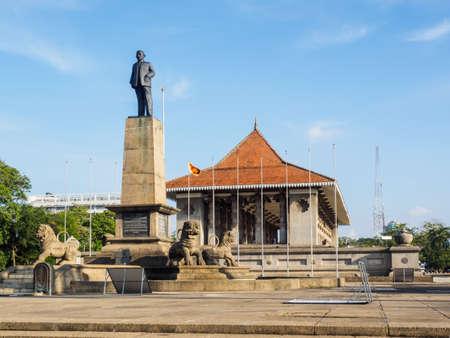Colombo, Sri Lanka - November 11, 2017:  The monumentof the first Prime Minister of Sri Lanka, Don Stephen Senanayake, standing in front of the Independence Hall, Colombo, Sri Lanka.