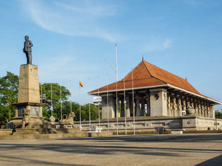 The monument of the first Prime Minister of Sri Lanka, Don Stephen Senanayake, standing in front of the Independence Hall, Colombo, Sri Lanka.