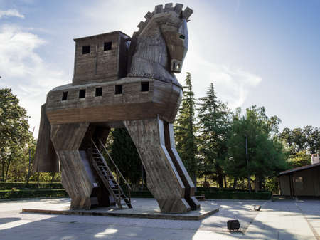The replica of wooden trojan horse at the ancient city of Troy, Canakkale, Turkey, which people can climb up into the wooden horse.