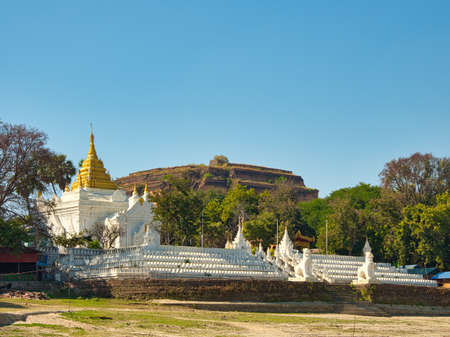 The Pagoda Settawya in front of the Pagoda Mingun Pahtodawgyi which is the uncompleted Mingun Pagoda in Mingun or Min Kun, Myanmar