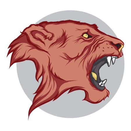 head to head: lion Illustration