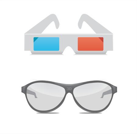 3D Glasses Vector Illustration