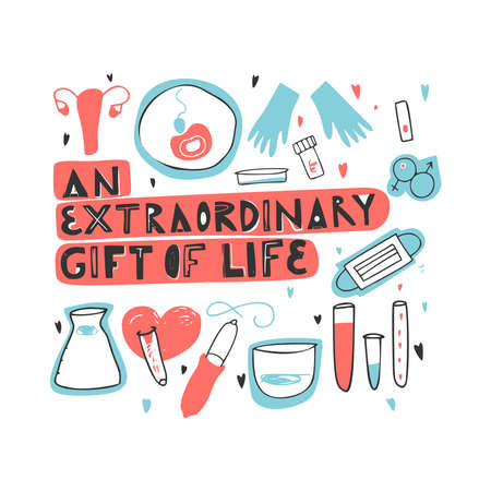 An extraordinary gift of life hand drawn lettering. Unique motivational phrase about egg donation, surrogacy, in vitro fertilization.