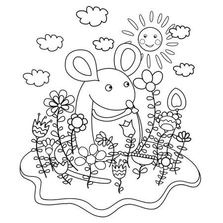 mouse animal: Funny mouse with flowers. Coloring book.