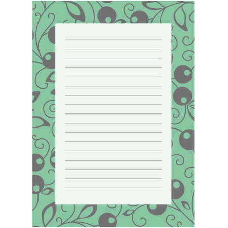 notepaper: Notepaper page with floral background