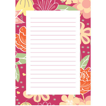 Notepaper page with flowers