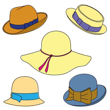 hatband: Set of hats on white background. Illustration