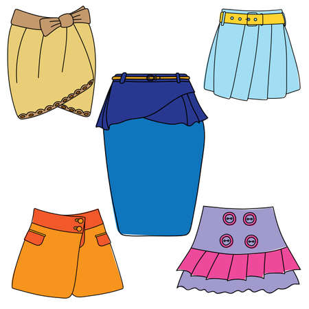 Set of skirts on white background.