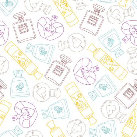 Perfume seamless pattern background. Vector illustration Vectores