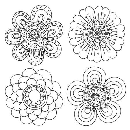 Set of abstract floral elements. Hand drawn doodle. Vector illustration Illustration