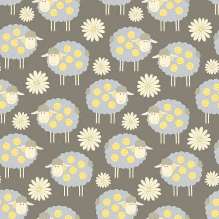 mohair: Seamless pattern background with sheeps and flowers