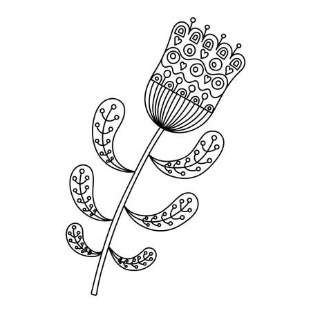 Abstract floral ornament. Hand drawn doodle. Vector illustration