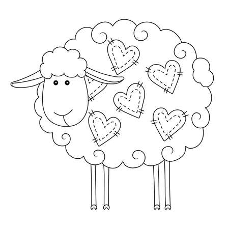 Funny sheep with hearts. Illustration