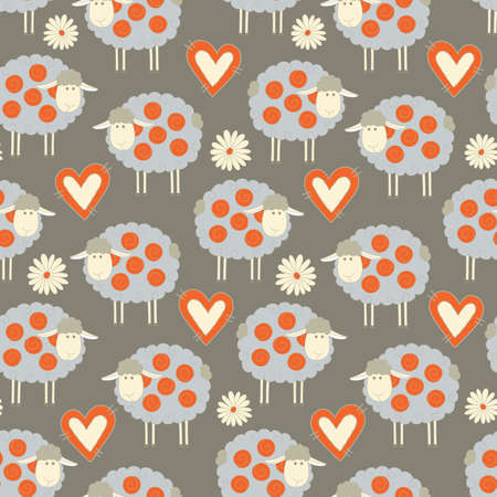 mohair: Seamless pattern background with sheeps, hearts and flowers Illustration