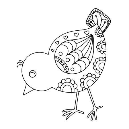nestling birds: Hand drawn decorative chick