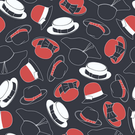 beach wrap: Seamless pattern with hats