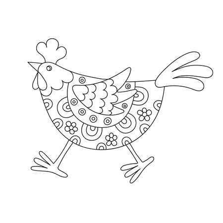 coloration: Funny hen Illustration