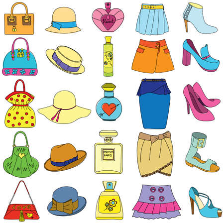 Set of shoes, handbags, skirts, hats and bottles of perfume on white background. Vector illustration.