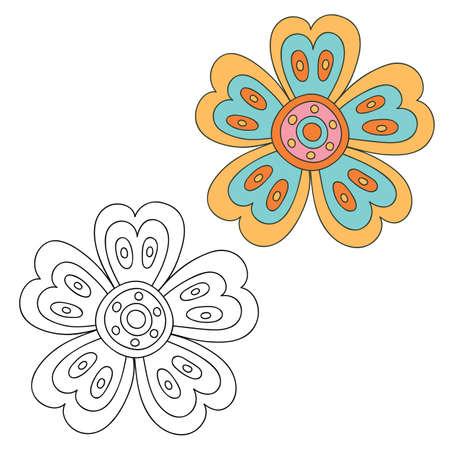 etnia: Elementos del diseño floral. Dibujado a mano del doodle. versión en blanco y negro y color. Ilustración del vector. Vectores