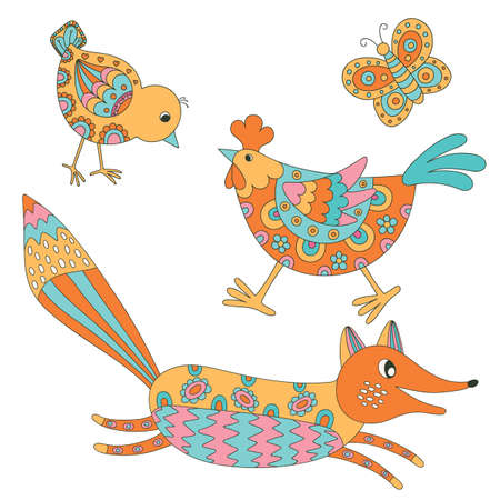 Set of hand drawn animals: fox, hend, chicken and butterfly.