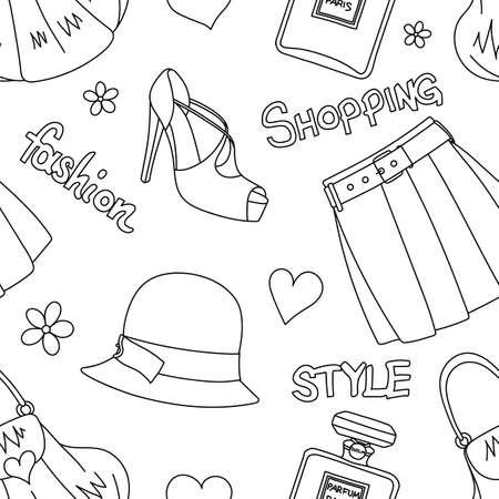 handbags: Seamless pattern with hats, bottles of perfume, footwear, skirt, handbags, hearts and flowers.
