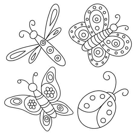 Set of outlined hand drawn butterflies, ladybug and dragonfly. Vektoros illusztráció