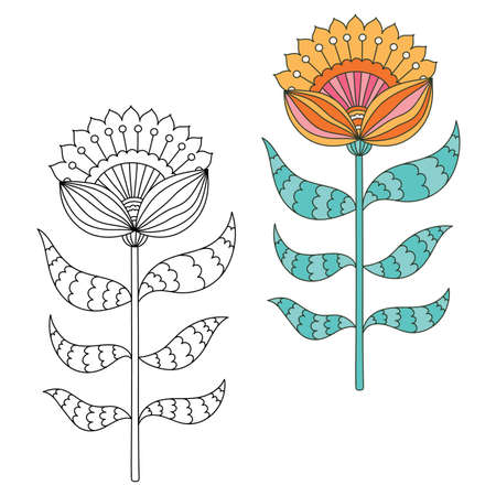 Floral design elements. Hand drawn doodle. Black and white and colored version. Vector illustration.