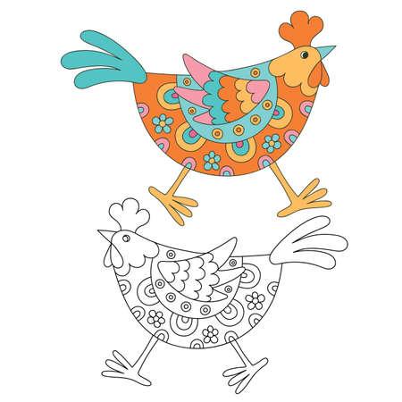 felt tip: Hand drawn decorative hen. Vector illustration