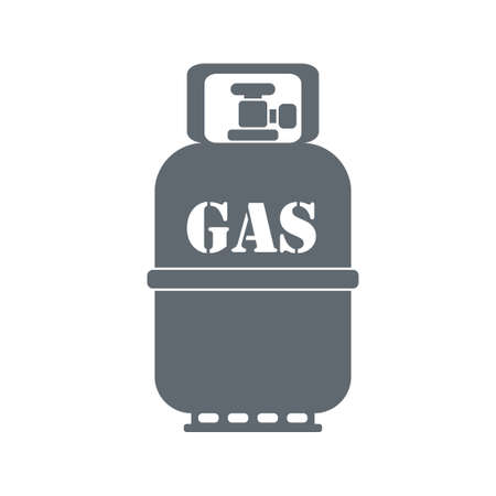 butane: Camping gas container icon on white background . Vector illustration