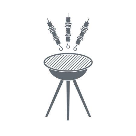 shish kebab: Grilled shish kebab icon. Vector illustration