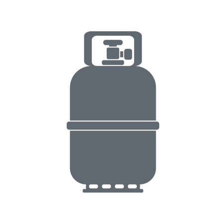 fillup: Camping gas container icon on white background . Vector illustration