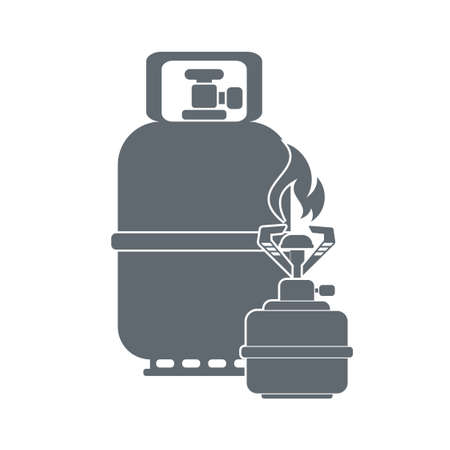 butane: Camping stove with gas bottle  icon vector. Flat icon isolated on the white background. Vector illustration. Illustration