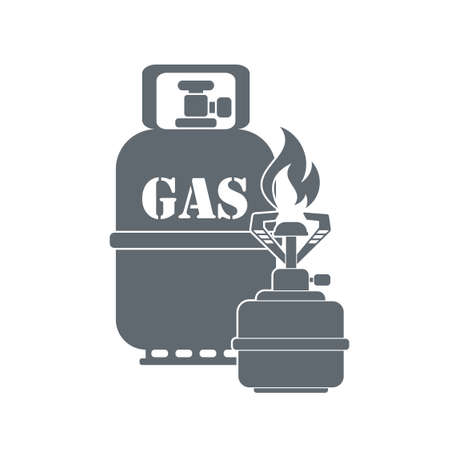 travel burner: Camping stove with gas bottle  icon vector. Flat icon isolated on the white background. Vector illustration. Illustration