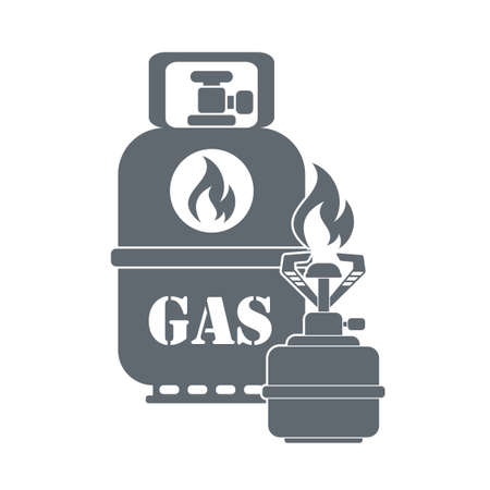 gas bottle: Camping stove with gas bottle  icon vector. Flat icon isolated on the white background. Vector illustration. Illustration