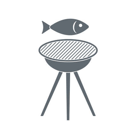 fried chicken wings: Grilled fish icon. Vector illustration