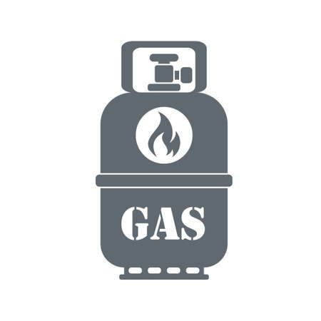methane: Camping gas container icon on white background . Vector illustration