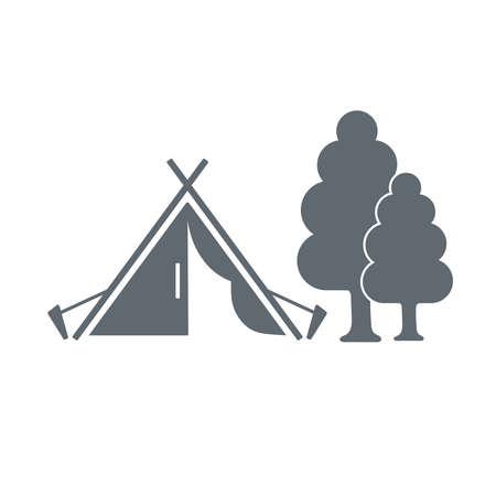 weekend activities: Tourist tent near tree  black vector icon