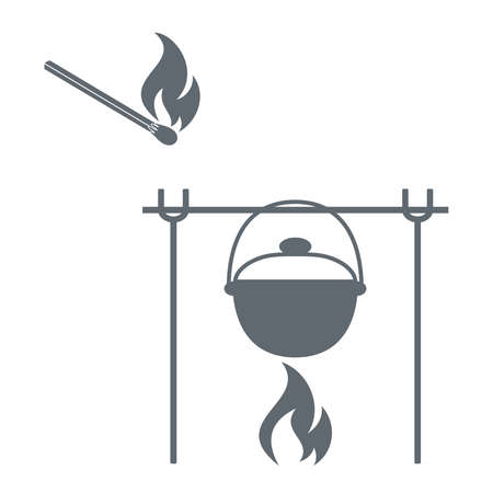 matches: Barbecue grill and matches  icon on a white background. illustration Illustration
