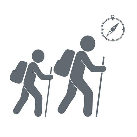 haversack: Hiking tourists with compass icon. illustration Illustration