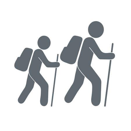 haversack: Hiking tourists icon. illustration Illustration